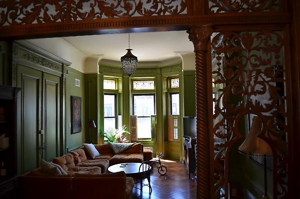 restored woodwork detail at living area