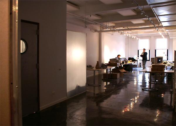 view of main offices with polished concrete floors