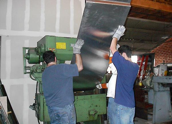 bending the steel sheet in the shop