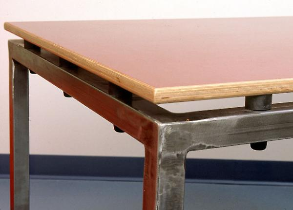 red conference table detail