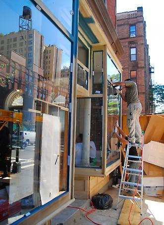 reconstruction of storefront - in progress