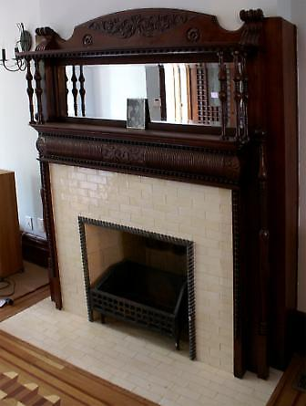 restored fireplace detail