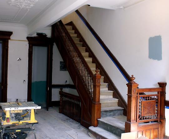 restored open stairway at parlour floor