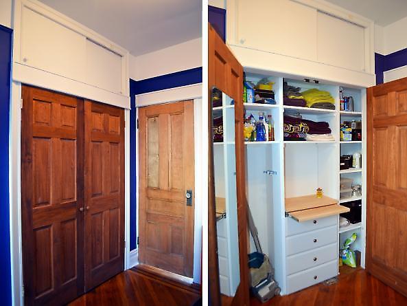 closet reconfiguraton with salvaged doors + interior view